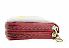 Zipper of brown leather wallet Stock Photos