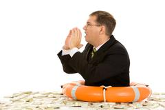 Image of businessman crying for help wearing buoy Stock Photos
