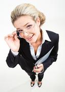 above view of modern business woman wearing black suit and glasses and staring a - stock photo