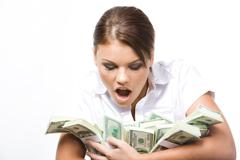 Photo of young woman afraid of losing money being held by her Stock Photos