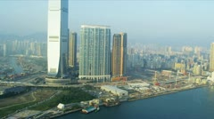 Aerial View International Commerce Hong Kong Stock Footage