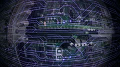 circuit hor network blue - stock footage