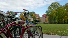 Bike and College Campus Timelapse Stock Footage