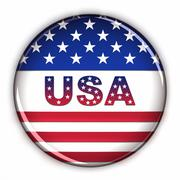 patriotic usa button - stock illustration