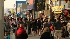 Crowd Walking on Boardwalk Stock Footage