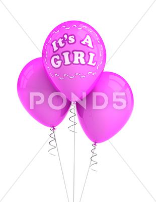 Stock Illustration of it's a girl party balloons