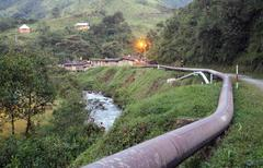 The trans-andean oil pipeline on the western slope of the andes, ecuador. thi Stock Photos