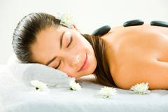 image of young beautiful girl sleeping during a therapy - stock photo