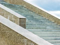 olympus digital camera image of grey marble stairs somewhere in the city - stock photo