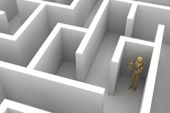 mannequin lost in maze - stock illustration
