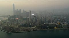 Aerial View Victoria Harbour Tsim Sha Tsui, Hong Kong Stock Footage
