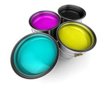 cmyk color paint buckets - stock photo