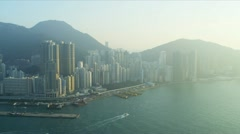 Aerial View of Victoria Harbour Hong Kong  Stock Footage