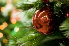 Macro image of red toy ball hanging on christmas tree branch Stock Photos