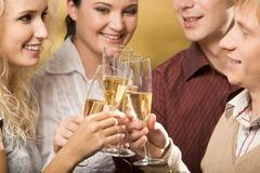 portrait of cheerful people toasting at party with smiles - stock photo