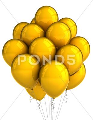 Stock photo of yellow party ballooons