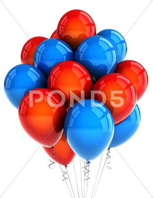 Stock photo of red and blue party ballooons