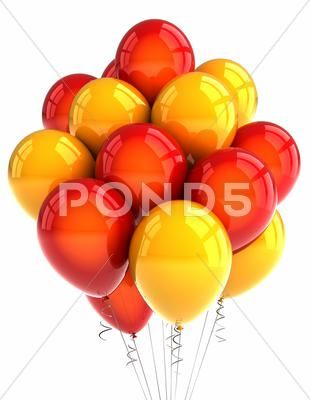 Stock photo of red and yellow party ballooons