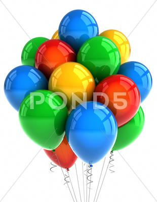 Stock photo of party balloons over white