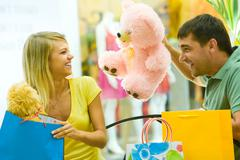 happy couple have fun in the shopping center - stock photo