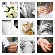 Creative collage composed of nine wedding moments Stock Photos