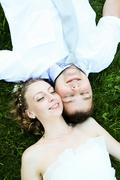 view from above of happy newlyweds - stock photo