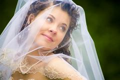 Portrait of fresh and beautiful young model in wedding wear Stock Photos