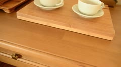 Coffee-cups on a table. Dolly shot Stock Footage