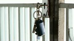 Key hanging on door Stock Footage