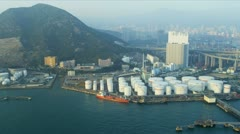 Aerial View of Oil Storage Terminal Hong Kong - stock footage