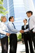 photo of business partners handshaking at meeting in natural environment - stock photo