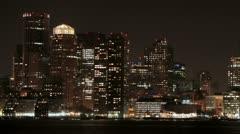 Boston piers park skyline pan Stock Footage