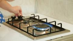 Food Preparation - Gas Stove Ignition Stock Footage