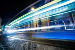 Traffic lights in long time exposure Stock Photos