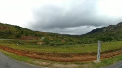 Driving along road and rice fields or terraces in Madagascar. Stock Footage