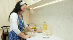 Woman Baking In The Kitchen - stock footage
