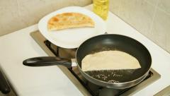Food Preparation - Chebureki Fried In Oil Stock Footage