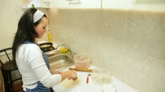 Woman Preparing Chebureki Stock Footage