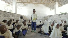Blind boy in Primary School. Zanzibar. Tanzania. Africa Stock Footage