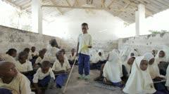 Blind boy in Primary School. Zanzibar. Tanzania. Africa Stock Footage