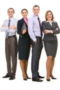 photo of successful associates looking at camera - stock photo