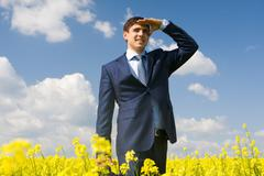 Portrait of successful male looking forward in yellow meadow Stock Photos