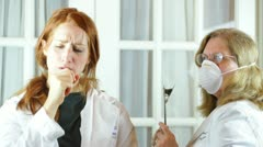 Contaminated scientiest sick doctor infected outbreak epidemic Stock Footage