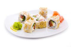 Image of maki sushi with sesame, pickled ginger and wasabi Stock Photos