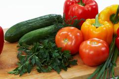Image of fresh vegetables and greenery Stock Photos