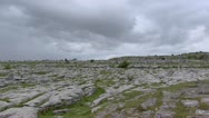 Stock Video Footage of Burren landscape pan megalithic tomb Poulnabrone Dolmen