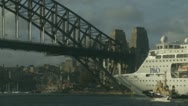 Huge P & O under Sydney harbour bridge (speeded up) Stock Footage