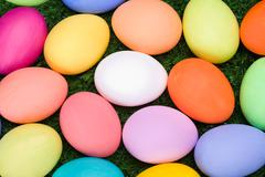 macro image of colorful easter eggs that may be used as wallpaper - stock photo
