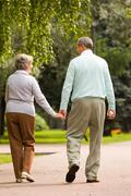 Rear view of senior couple walking down in park and chatting Stock Photos