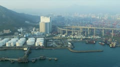 Aerial View of Oil Storage Terminal Hong Kong Stock Footage